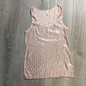 Studio Y sparkle Tank Top. Pale pink in color